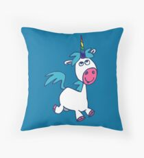 Joyous Cartoon Unicorn by Cheerful Madness!! Throw Pillow
