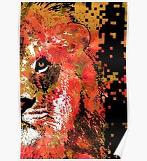 Red Lion Half Face by Sharon Cummings Poster