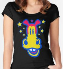 Smiling Cartoon Horse by Cheerful Madness  Women's Fitted Scoop T-Shirt