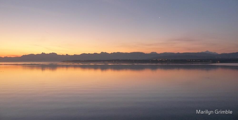 SUNSET - Lake Geneva... Switzerland by Marilyn Grimble