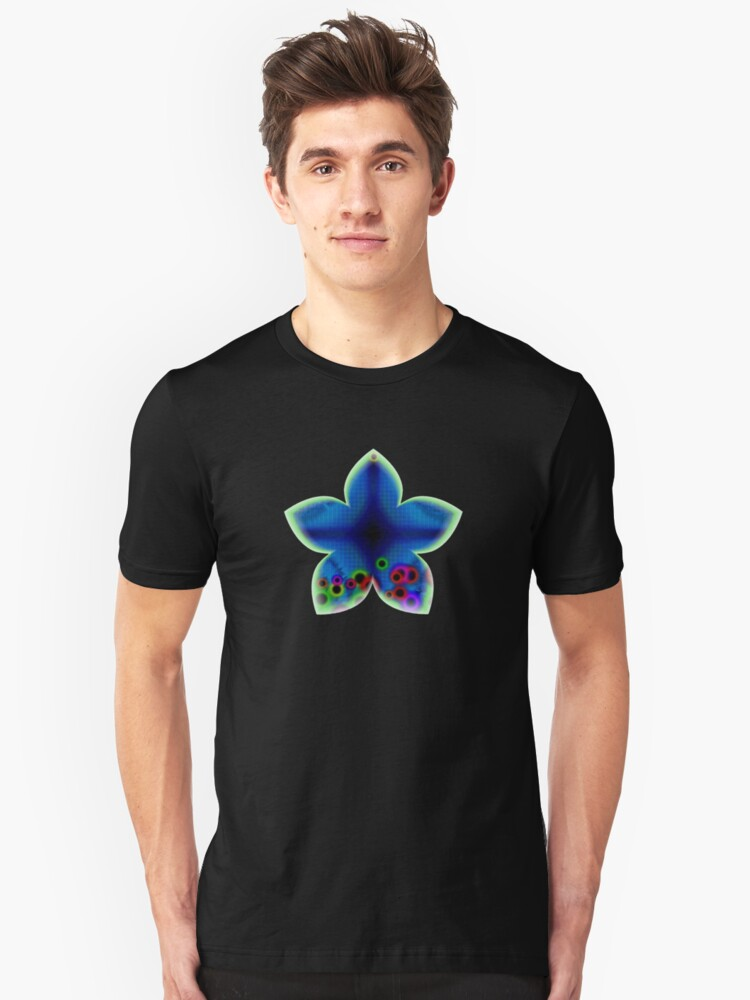 Blue Abstract Flower Unisex T-Shirt Front
