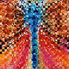 Modern Dragonfly Art - Pieces 6 - Sharon Cummings by Sharon Cummings