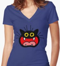 Crazy Cat by Cheerful Madness!! Women's Fitted V-Neck T-Shirt