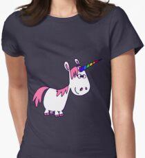 Cute Rainbow Cartoon Unicorn by Cheerful Madness!! Women's Fitted T-Shirt
