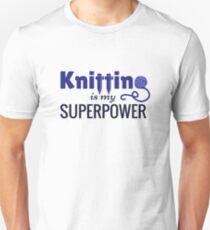 Knitting is My Superpower in Blue T-Shirt