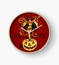 Halloween Witch Girl (vintage) Clock
