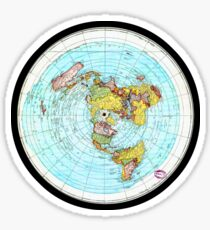 Flat Earth Map - (Azimuthal Equidistant Projection Map) Sticker