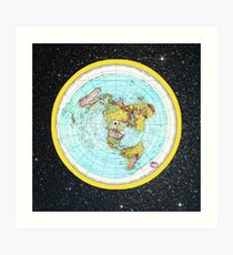 Flat Earth Map - (Azimuthal Equidistant Projection Map) - Beautiful Stars Art Print
