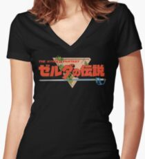 The Legend Of Zelda - Japanese Logo - Clean Women's Fitted V-Neck T-Shirt
