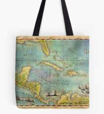 Caribbean Pirate + Treasure Map 1660 Tote Bag
