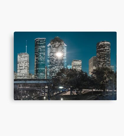 Downtown Houston City Skyline - Midnight Blues Canvas Print