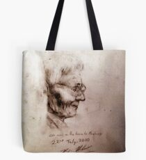 Old Man on the train sketch Tote Bag