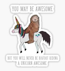 Bigfoot Riding a Unicorn Sticker