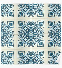 Portuguese tiles pattern. Vintage background  Poster