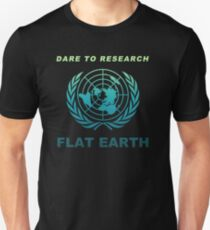 Dare to Research Flat Earth - Flat Earth Theory Map Logo Classic Deep Sea Naval Color T-Shirt