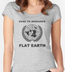Dare to Research Flat Earth Women's Fitted Scoop T-Shirt