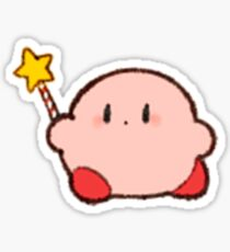 kirby holding star rod Sticker