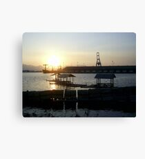 Three Floating Cottages Canvas Print