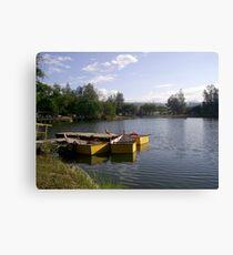 Three Yellow Boats Canvas Print