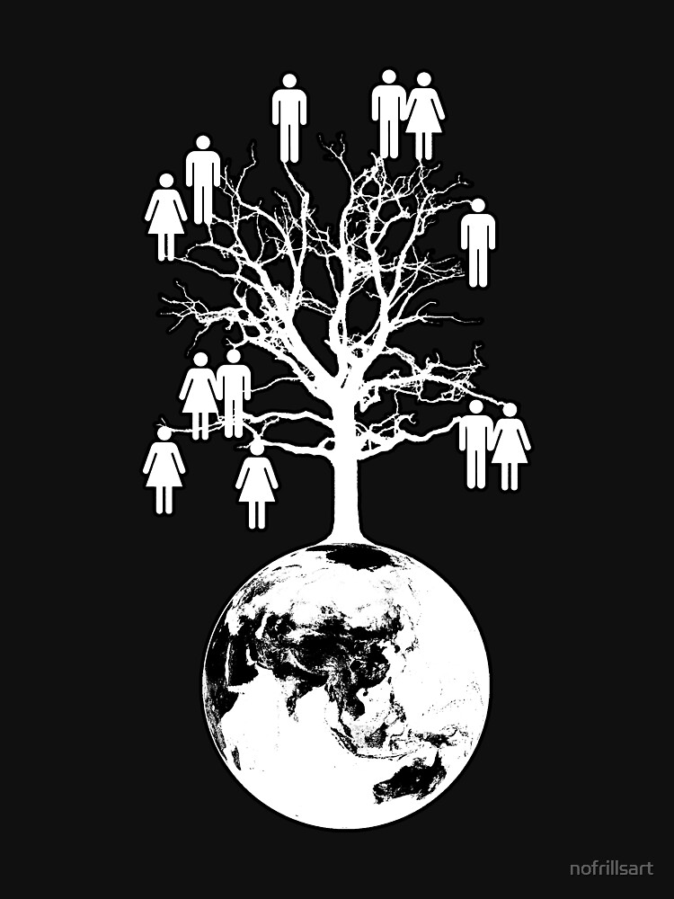 Family Tree - We are one family. (White on Black) by nofrillsart