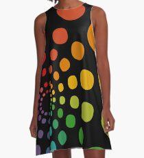 Rainbow Dot Circles A-Line Dress