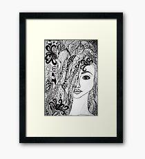 Zentangle Girl Framed Print