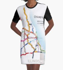 Chicago Highway Names Graphic T-Shirt Dress