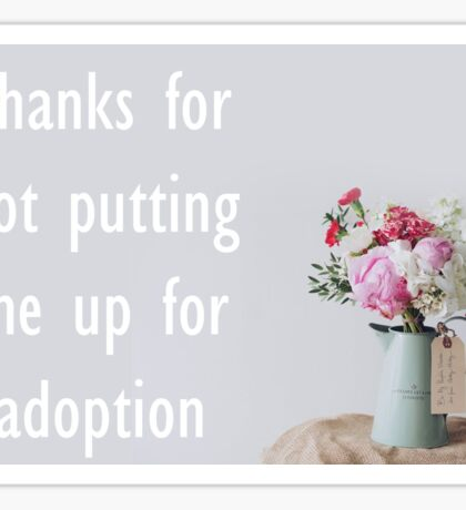 Thanks For Not Putting Me Up For Adoption Sticker