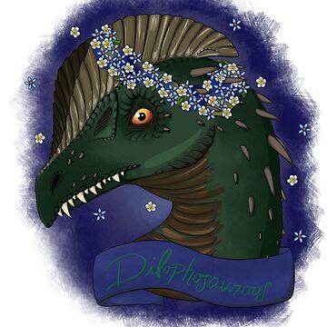 Flower Crown Dilophosaurus by EmmyGoat