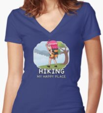 Hiking - My Happy Place Women's Fitted V-Neck T-Shirt