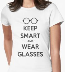 Keep Smart and Wear Glasses Women's Fitted T-Shirt