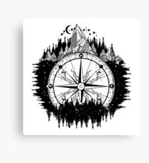 Mountain and compass Canvas Print