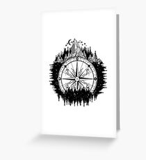 Mountain and compass Greeting Card