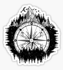 Mountain and compass Sticker