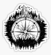 Berg und Kompass Sticker