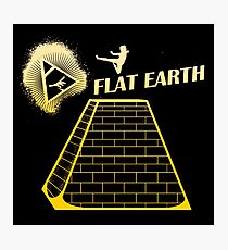 Flat Earth Designs - Flat Earth Jump Kicks the Top of the Illuminati Pyramid GOLD Photographic Print