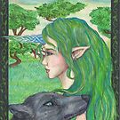 Celtic Elf with Wolf by Stephanie Small