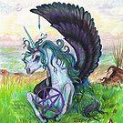 Winged Unicorn with Pentagram by Stephanie Small