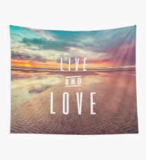 Ocean Sea Beach Water Clouds at Sunset - Live and Love Typography Wall Tapestry