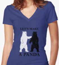 Let's Make A Panda tshirt Women's Fitted V-Neck T-Shirt