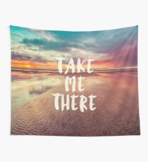 Ocean Sea Beach Water Clouds at Sunset - Take Me There Typography Wall Tapestry