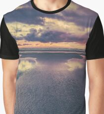 Ocean Sea Beach Water Clouds at Sunset - Pacific Coast Highway Long Beach, WA Graphic T-Shirt