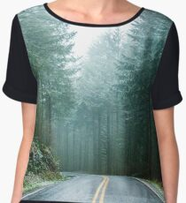 Forest Road Trip - Foggy Day Fir Trees Pacific Northwest Adventure Women's Chiffon Top