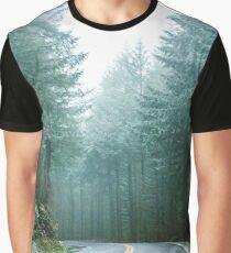 Forest Road Trip - Foggy Day Fir Trees Pacific Northwest Adventure Graphic T-Shirt
