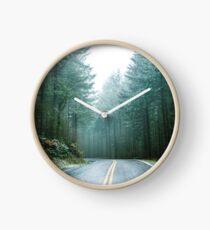 Forest Road Trip - Foggy Day Fir Trees Pacific Northwest Adventure Clock