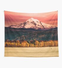 Mountains and Forest Water Sunset - Mt Hood Snow Mountain over the Columbia River Wall Tapestry