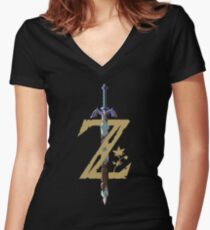The Legend of Zelda: Breath of the Wild Z Women's Fitted V-Neck T-Shirt