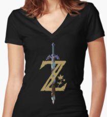 Camiseta entallada de cuello en V The Legend of Zelda: Breath of the Wild Z