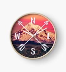 Compass Mountains and Forest Map - Mt Hood Snow Mountain and Trees Clock