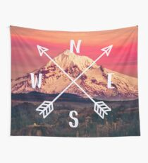 Compass Mountains and Forest Map - Mt Hood Snow Mountain and Trees Wall Tapestry